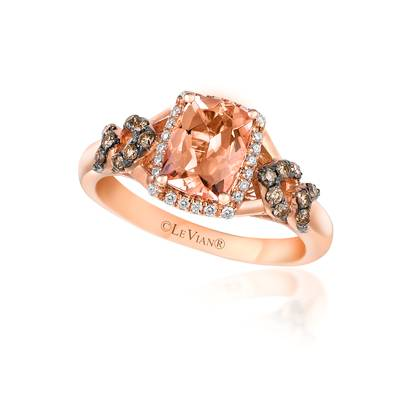 14K Strawberry Gold® Peach Morganite™ 1 cts. Ring with Chocolate Diamonds® 1/5 cts., Vanilla Diamonds® 1/15 cts. | SVAH 18