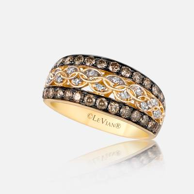 14K Honey Gold™ Ring with Chocolate Diamonds® 7/8 cts., Vanilla Diamonds® 1/20 cts. | SVAH 24A