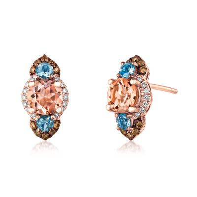 14K Strawberry Gold® Peach Morganite™ 1  1/8 cts., Sea Blue Aquamarine® 3/8 cts. Earrings with Chocolate Diamonds® 1/5 cts., Vanilla Diamonds® 1/10 cts. | SVAH 32A