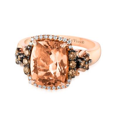 14K Strawberry Gold® Peach Morganite™ 2  7/8 cts. Ring with Chocolate Diamonds® 1/3 cts., Vanilla Diamonds® 1/15 cts. | SVAH 35A