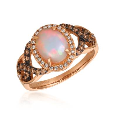 14K Strawberry Gold® Neopolitan Opal™ 7/8 cts. Ring with Chocolate Diamonds® 1/4 cts., Vanilla Diamonds® 1/10 cts. | SVAJ 14