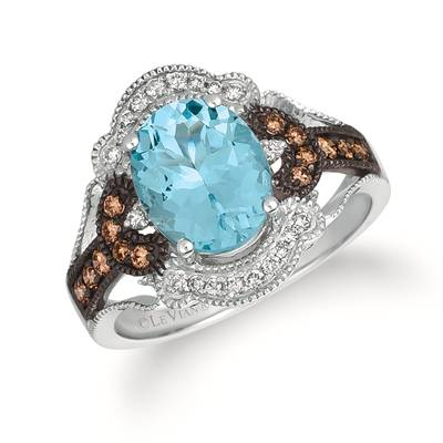 14K Vanilla Gold® Sea Blue Aquamarine® 2 cts. Ring with Chocolate Diamonds® 1/5 cts., Vanilla Diamonds® 1/8 cts. | SVAJ 28