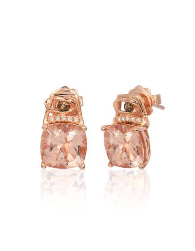 14K Strawberry Gold® Peach Morganite™ 4  1/5 cts. Earrings with Chocolate Diamonds®  cts., Vanilla Diamonds® 1/20 cts. | SVAK 5