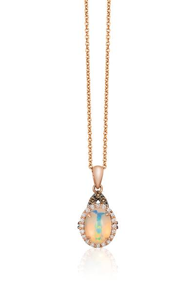 14K Strawberry Gold® Neopolitan Opal™ 5/8 cts. Pendant with Chocolate Diamonds® 1/20 cts., Vanilla Diamonds® 1/10 cts. | SVAM 179