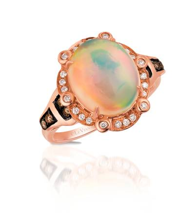 14K Strawberry Gold® Neopolitan Opal™ 2  7/8 cts. Ring with Chocolate Diamonds® 1/10 cts., Vanilla Diamonds® 1/8 cts. | SVAM 50