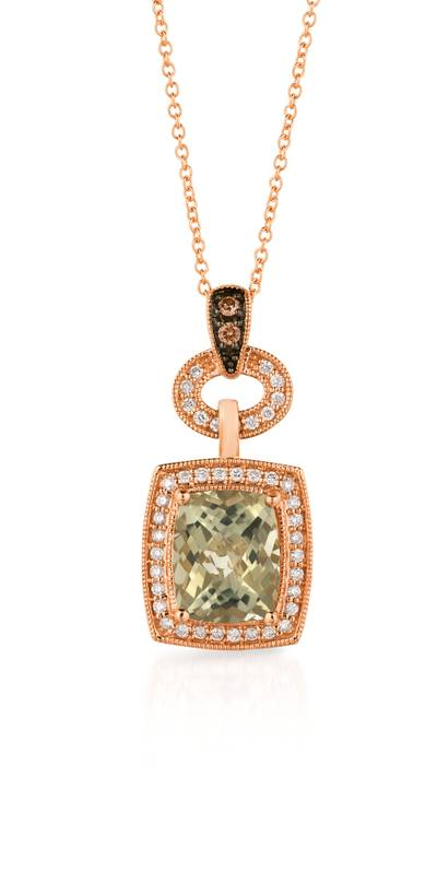 14K Strawberry Gold® Mint Julep Quartz™ 2  1/2 cts. Pendant with Chocolate Diamonds® 1/20 cts., Vanilla Diamonds® 1/4 cts. | SVAQ 2GM