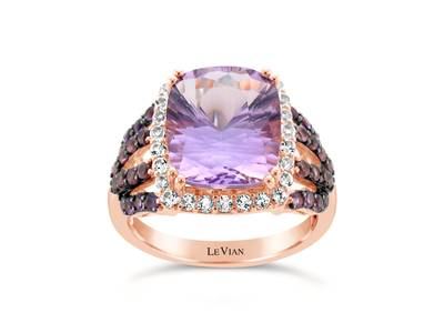 14K Strawberry Gold® Grape Amethyst™ 4  1/5 cts., Raspberry Rhodolite® 1/4 cts., Vanilla Topaz™ 3/8 cts., Cotton Candy Amethyst® 1/5 cts. Ring | SVAV 22