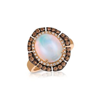 14K Strawberry Gold® Neopolitan Opal™ 2  3/4 cts. Ring with Chocolate Diamonds® 3/8 cts., Vanilla Diamonds® 1/6 cts. | SVBH 27