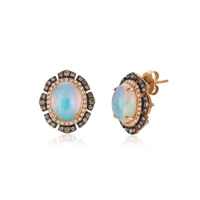 14K Strawberry Gold® Neopolitan Opal™ 2  3/8 cts. Earrings with Chocolate Diamonds® 3/8 cts., Vanilla Diamonds® 1/4 cts. | SVBH 29