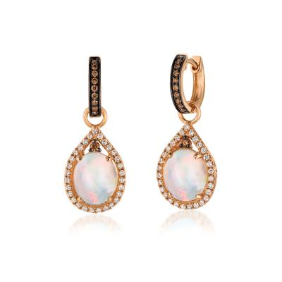 14K Strawberry Gold® Neopolitan Opal™ 2  3/8 cts. Earrings with Chocolate Diamonds® 1/5 cts., Vanilla Diamonds® 3/8 cts. | SVBH 86