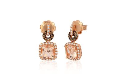 14K Strawberry Gold® Peach Morganite™ 1  3/8 cts. Earrings with Chocolate Diamonds® 1/8 cts., Vanilla Diamonds® 1/5 cts. | SVBI 12