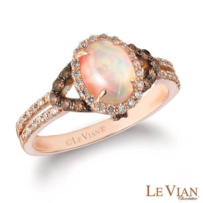 14K Strawberry Gold® Neopolitan Opal™ 5/8 cts. Ring with Chocolate Diamonds® 1/6 cts., Vanilla Diamonds® 1/4 cts. | SVBI 6