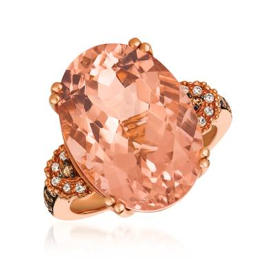 14K Strawberry Gold® Peach Morganite™ 9  3/8 cts. Ring with Chocolate Diamonds® 1/6 cts., Vanilla Diamonds® 1/20 cts. | SVBK 13