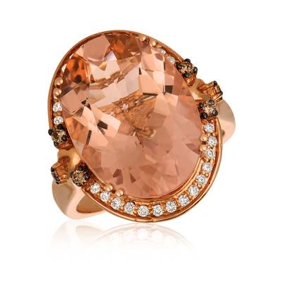 14K Strawberry Gold® Peach Morganite™ 9  3/8 cts. Ring with Chocolate Diamonds® 1/10 cts., Vanilla Diamonds® 1/5 cts. | SVBK 18