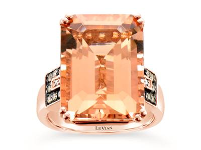 14K Strawberry Gold® Peach Morganite™ 11 5/8 cts. Ring with Chocolate Diamonds® 1/8 cts., Vanilla Diamonds®  cts. | SVBK 19