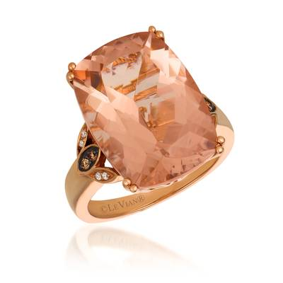 14K Strawberry Gold® Peach Morganite™ 10 3/4 cts. Ring with Chocolate Diamonds® 1/20 cts., Vanilla Diamonds®  cts. | SVBK 20