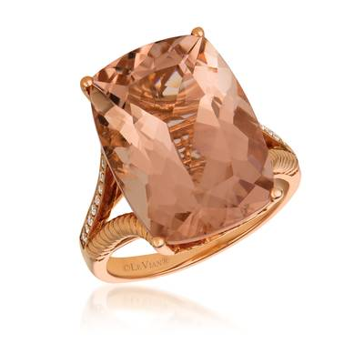 14K Strawberry Gold® Peach Morganite™ 10 3/4 cts. Ring with Vanilla Diamonds® 1/10 cts. | SVBK 21