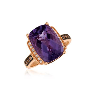14K Strawberry Gold® Grape Amethyst™ 5  5/8 cts. Ring with Chocolate Diamonds® 1/10 cts., Vanilla Diamonds® 1/15 cts. | SVBK 37