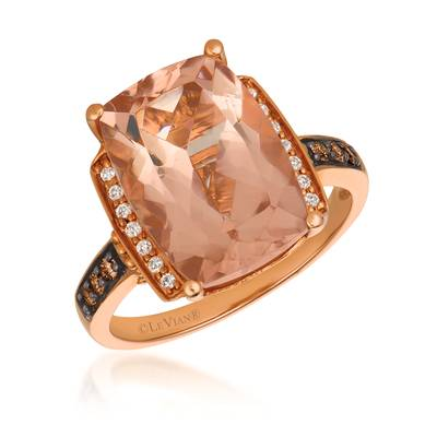 14K Strawberry Gold® Peach Morganite™ 5  1/8 cts. Ring with Chocolate Diamonds® 1/10 cts., Vanilla Diamonds® 1/15 cts. | SVBK 6