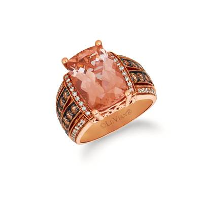 14K Strawberry Gold® Peach Morganite™ 5  1/8 cts. Ring with Chocolate Diamonds® 7/8 cts., Vanilla Diamonds® 1/4 cts. | SVBL 34