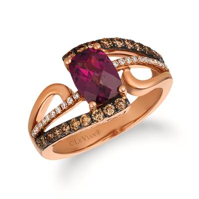 14K Strawberry Gold® Raspberry Rhodolite® 1  5/8 cts. Ring with Chocolate Diamonds® 3/8 cts., Vanilla Diamonds® 1/10 cts. | SVCF 27