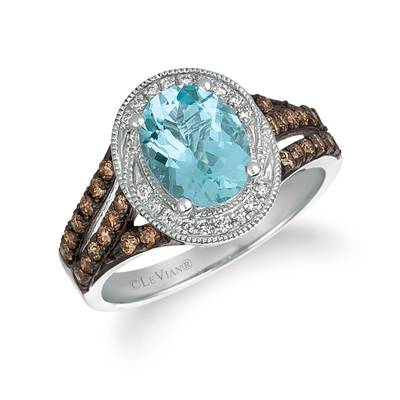 14K Vanilla Gold® Sea Blue Aquamarine® 1  3/8 cts. Ring with Chocolate Diamonds® 3/8 cts., Vanilla Diamonds® 1/10 cts. | SVCF 28