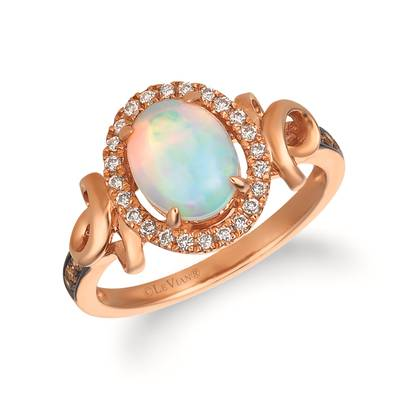 14K Strawberry Gold® Neopolitan Opal™ 7/8 cts. Ring with Chocolate Diamonds® 1/20 cts., Vanilla Diamonds® 1/6 cts. | SVCF 30