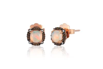14K Strawberry Gold® Neopolitan Opal™ 3/4 cts. Earrings with Chocolate Diamonds® 1/8 cts., Vanilla Diamonds®  cts. | SVCH 11