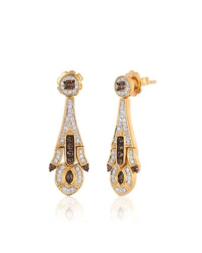 14K Honey Gold™ Earrings with Chocolate Diamonds® 1/3 cts., Vanilla Diamonds® 1/4 cts. | SVCL 10