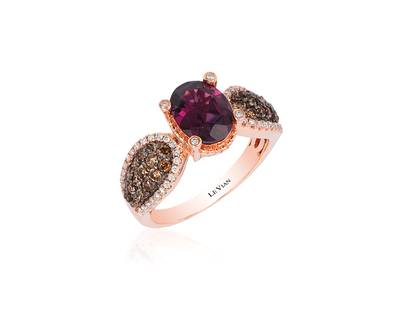 14K Strawberry Gold® Raspberry Rhodolite® 1  7/8 cts. Ring with Chocolate Diamonds® 1/2 cts., Vanilla Diamonds® 1/5 cts. | SVCL 13A