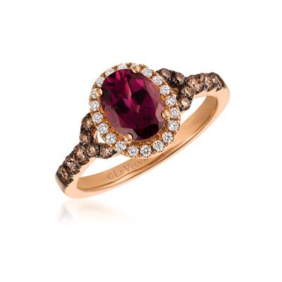 14K Strawberry Gold® Raspberry Rhodolite® 1  3/8 cts. Ring with Chocolate Diamonds® 1/3 cts., Vanilla Diamonds® 1/8 cts. | SVCL 26