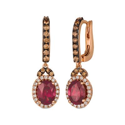 14K Strawberry Gold® Raspberry Rhodolite® 2  3/4 cts. Earrings with Chocolate Diamonds® 1/2 cts., Vanilla Diamonds® 1/3 cts. | SVCL 35