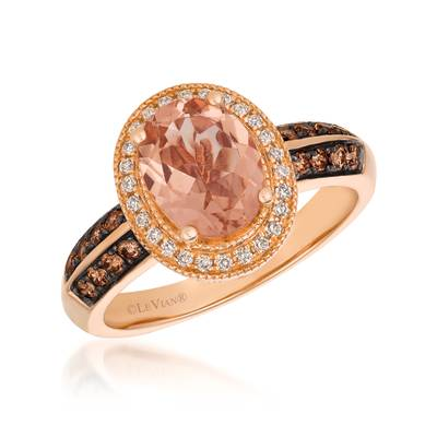 14K Strawberry Gold® Peach Morganite™ 1  1/3 cts. Ring with Chocolate Diamonds® 1/4 cts., Vanilla Diamonds® 1/8 cts. | SVCL 38