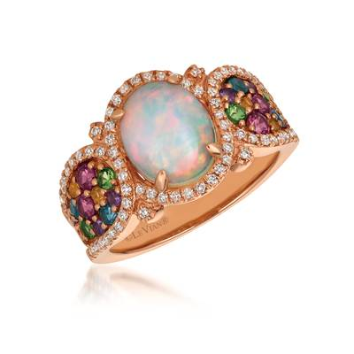 14K Strawberry Gold® Neopolitan Opal™ 1  1/5 cts., Raspberry Rhodolite® 1/3 cts., Forest Green Tsavorite™ 1/6 cts., Deep Sea Blue Topaz™ 1/8 cts., Cinnamon Citrine® 1/15 cts., Grape Amethyst™ 1/15 cts. Ring | SVCL 43