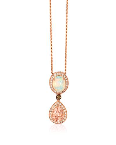 14K Strawberry Gold® Peach Morganite™ 3/4 cts., Neopolitan Opal™ 5/8 cts. Pendant with Chocolate Diamonds®  cts., Vanilla Diamonds® 1/4 cts. | SVCL 9A