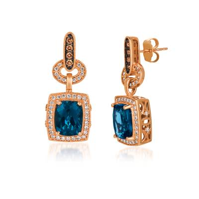 14K Strawberry Gold® Deep Sea Blue Topaz™ 4  3/8 cts. Earrings with Chocolate Diamonds® 1/6 cts., Vanilla Diamonds® 1/2 cts. | SVCM 10