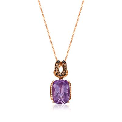 14K Strawberry Gold® Grape Amethyst™ 5  5/8 cts. Pendant with Chocolate Diamonds® 1/6 cts., Vanilla Diamonds® 1/15 cts. | SVCM 16