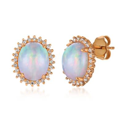 14K Strawberry Gold® Neopolitan Opal™ 2  3/8 cts. Earrings with Vanilla Diamonds® 1/3 cts. | SVCM 29