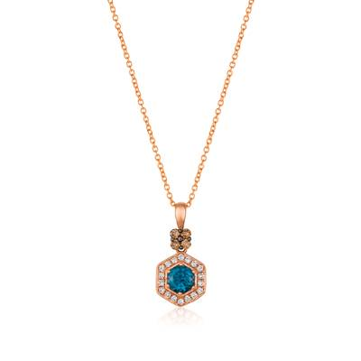 14K Strawberry Gold® Deep Sea Blue Topaz™ 1/2 cts. Pendant with Chocolate Diamonds® 1/10 cts., Vanilla Diamonds® 1/8 cts. | SVCM 33