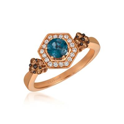 14K Strawberry Gold® Deep Sea Blue Topaz™ 1/2 cts. Ring with Chocolate Diamonds® 1/5 cts., Vanilla Diamonds® 1/8 cts. | SVCM 34