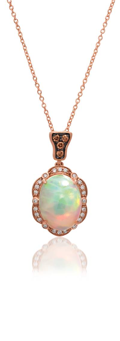 14K Strawberry Gold® Neopolitan Opal™ 2  1/2 cts. Pendant with Chocolate Diamonds® 1/15 cts., Vanilla Diamonds® 1/8 cts. | SVCM 5