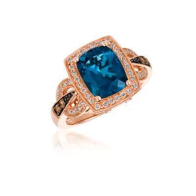 14K Strawberry Gold® Deep Sea Blue Topaz™ 3 cts. Ring with Chocolate Diamonds® 1/15 cts., Vanilla Diamonds® 1/4 cts. | SVCM 8