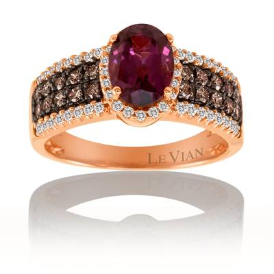 14K Strawberry Gold® Raspberry Rhodolite® 1  3/8 cts. Ring with Chocolate Diamonds® 1/3 cts., Vanilla Diamonds® 1/4 cts. | SVCV 3