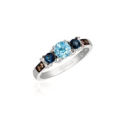 14K Vanilla Gold® Sea Blue Aquamarine® 3/8 cts., Blueberry Sapphire™ 1/4 cts. Ring with Chocolate Diamonds® 1/15 cts., Vanilla Diamonds®  cts. | SVCZ 13
