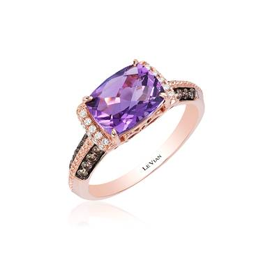 14K Strawberry Gold® Grape Amethyst™ 1  7/8 cts. Ring with Chocolate Diamonds® 1/5 cts., Vanilla Diamonds® 1/15 cts. | SVCZ 28