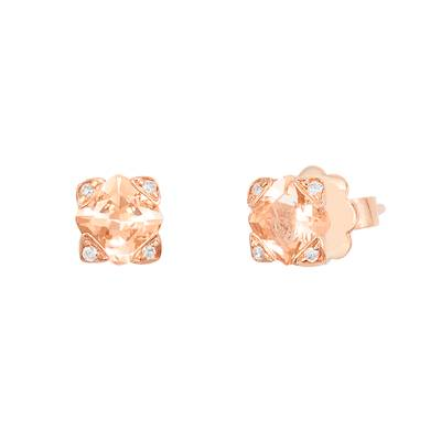 14K Strawberry Gold® Peach Morganite™ 7/8 cts. Earrings with Vanilla Diamonds®  cts. | SVCZ 41