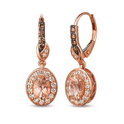 14K Strawberry Gold® Peach Morganite™ 1 cts. Earrings with Chocolate Diamonds® 1/5 cts., Nude Diamonds™ 1/2 cts. | SVDD 5