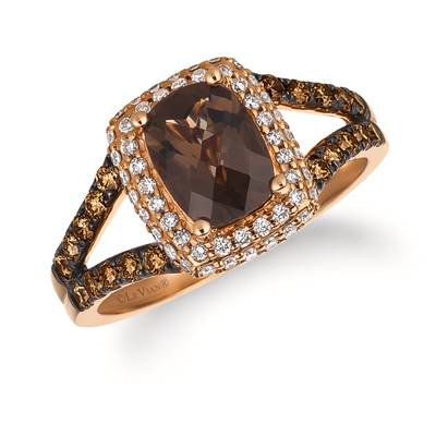 14K Strawberry Gold® Chocolate Quartz® 1 cts. Ring with Chocolate Diamonds® 3/8 cts., Vanilla Diamonds® 1/4 cts. | SVDJ 46