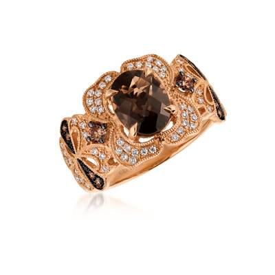 14K Strawberry Gold® Chocolate Quartz® 1  1/2 cts. Ring with Chocolate Diamonds® 1/6 cts., Vanilla Diamonds® 1/4 cts. | SVDL 30
