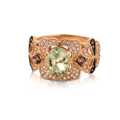 14K Strawberry Gold® Mint Julep Quartz™ 1  5/8 cts. Ring with Chocolate Diamonds® 1/6 cts., Vanilla Diamonds® 1/4 cts. | SVDL 30GM